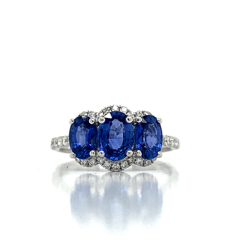 18K White Gold Three Stone Oval Sapphire Ring