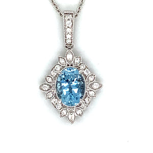 14K White Gold Oval Aquamarine Snowflake Necklace