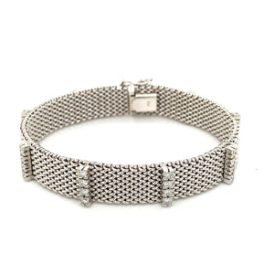 14K White Gold Wide Mesh Bracelet with 1ct Diamonds
