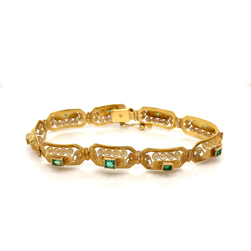 18K Yellow Gold Emerald Bracelet