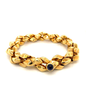 18K Yellow Gold Heavy Twisted Bracelet with Sapphire Accent
