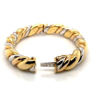 18K Tri-Color Solid Hinge Bangle Bracelet