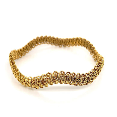 18K Yellow Gold Twisted Weave Slip-On Bangle Bracelet (Solid)