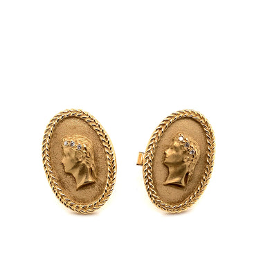 14K Yellow Gold Julius Caesar Cuff Links with Diamond Accents