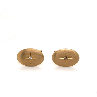 14K Yellow Gold Oval Cuff Links with Diamond Accents