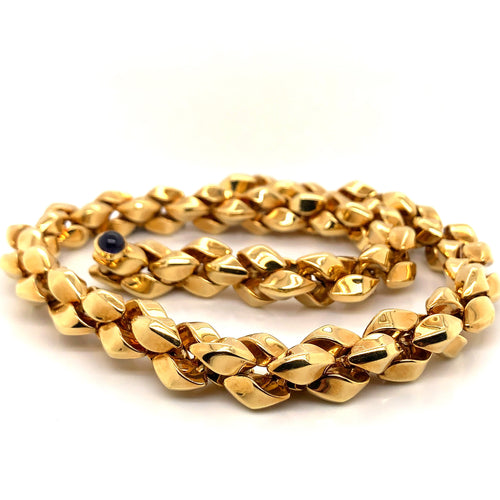 18K Yellow Gold Heavy Twisted Necklace with Sapphire Accent