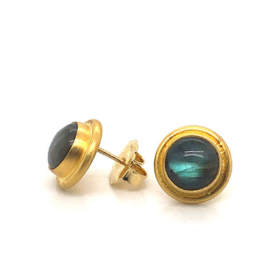 Lika Behar 24K Gold Bezel Set Labradorite Stud Earrings