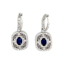Load image into Gallery viewer, 18K White Gold Sapphire & Diamond Drop Earrings