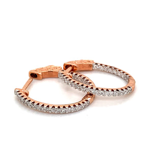 14K Rose Gold Oval Diamond Hoop Earrings