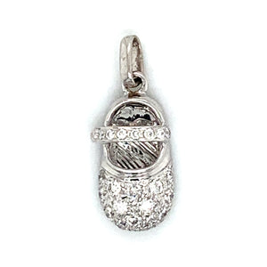 18K White Gold Diamond Encrusted Baby Bootie