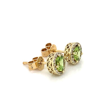 14K Yellow Gold Peridot & Diamond Halo Earrings