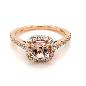 14K Rose Gold Cushion Cut Morganite & Diamond Halo Ring