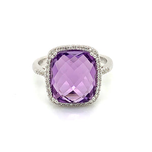 14K White Gold Large Cushion Cut Amethyst & Diamond Halo Ring
