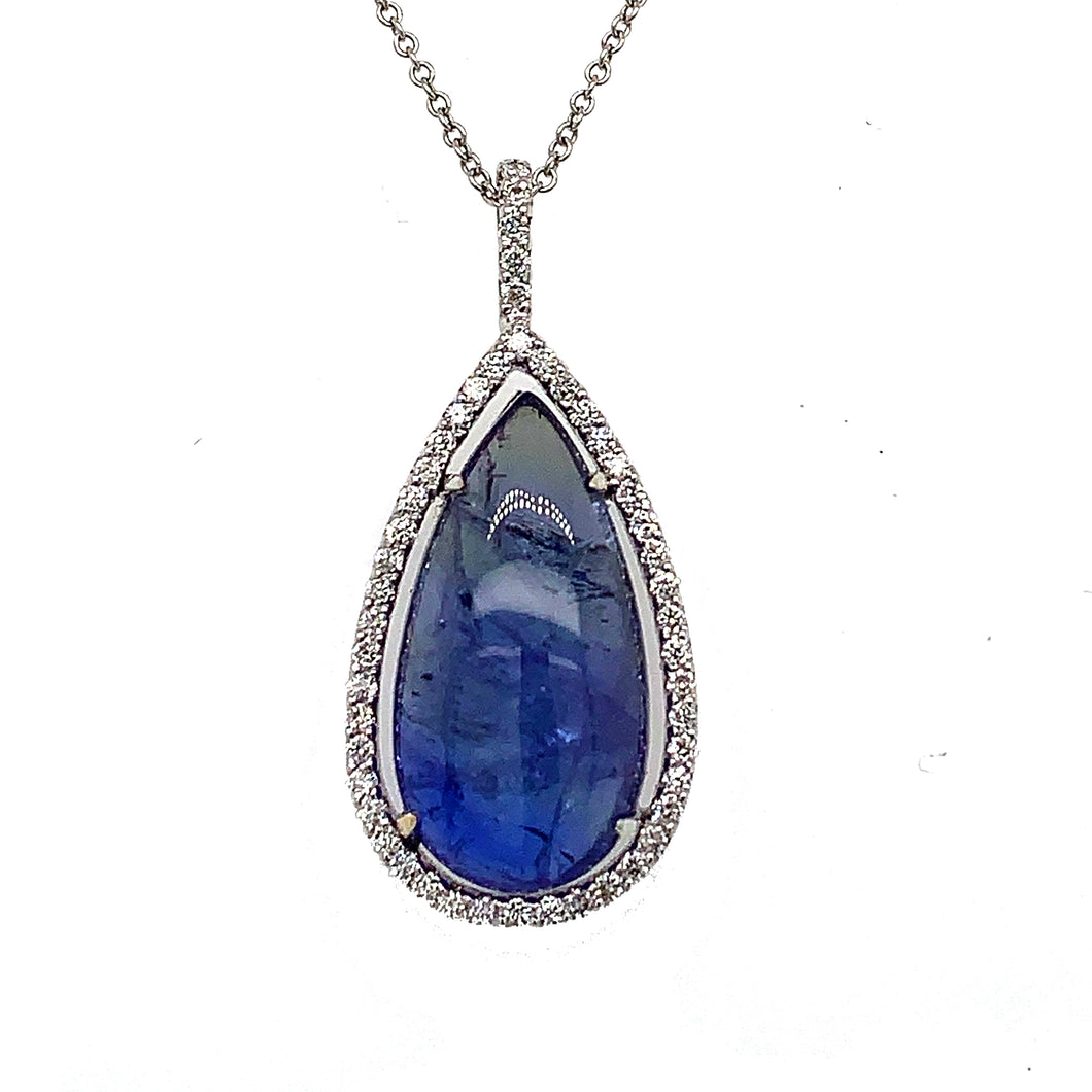18K White Gold Tanzanite & Diamond Necklace