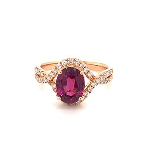 14K Rose Gold Rhodolite Garnet & Diamond Ring