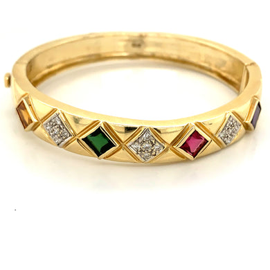 14K Yellow Gold Multi-Gemstone & Diamond Bangle Bracelet