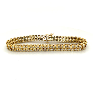 14K Yellow Gold Double Row Diamond Tennis Bracelet