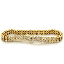 Load image into Gallery viewer, 14K Yellow Gold Double Row Diamond Tennis Bracelet