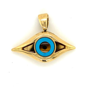 18K Yellow Gold Large Evil Eye Pendant