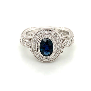 14K White Gold Vintage Inspired Oval Sapphire & Diamond Ring
