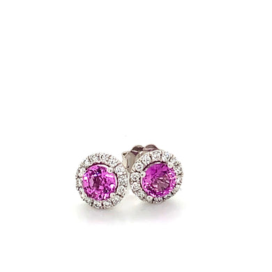 14K White Gold Hot Pink Sapphire & Diamond Halo Stud Earrings