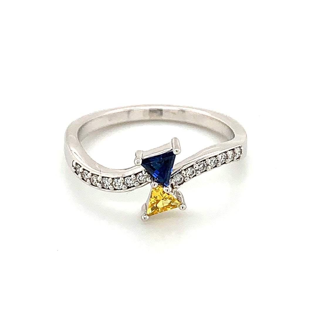 14K White Gold Triangle Cut Blue & Yellow Sapphire Ring with Diamond Accents