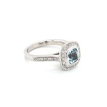 Load image into Gallery viewer, 14K White Gold Sky Blue Topaz & Diamond Halo Ring