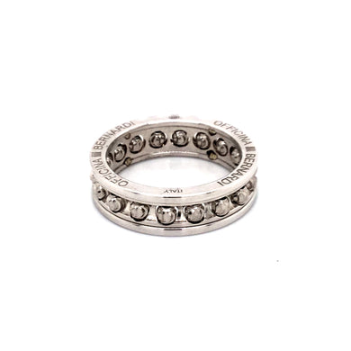 Officina Bernardi Rhodium Plated Sterling Silver Moon Cut Eternity Ring