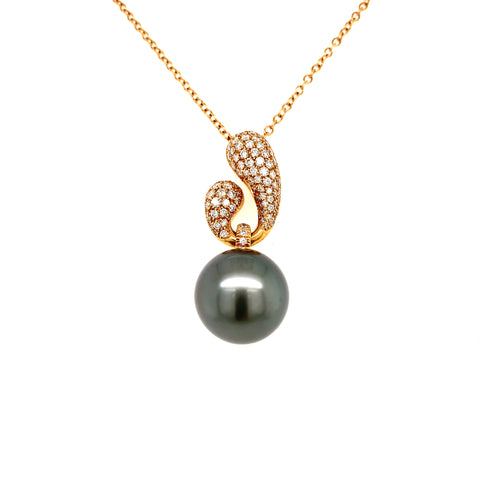18K Rose Gold Large Tahitian Pearl & Diamond Necklace