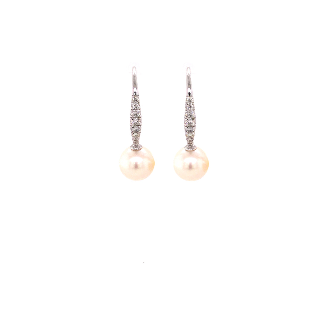 14K White Gold Pearl & Diamond Drop Earrings