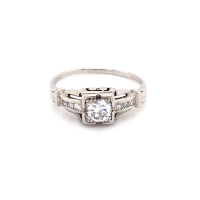 Platinum Vintage Diamond Engagement Ring with Approximately .35ct Total Diamond Weight