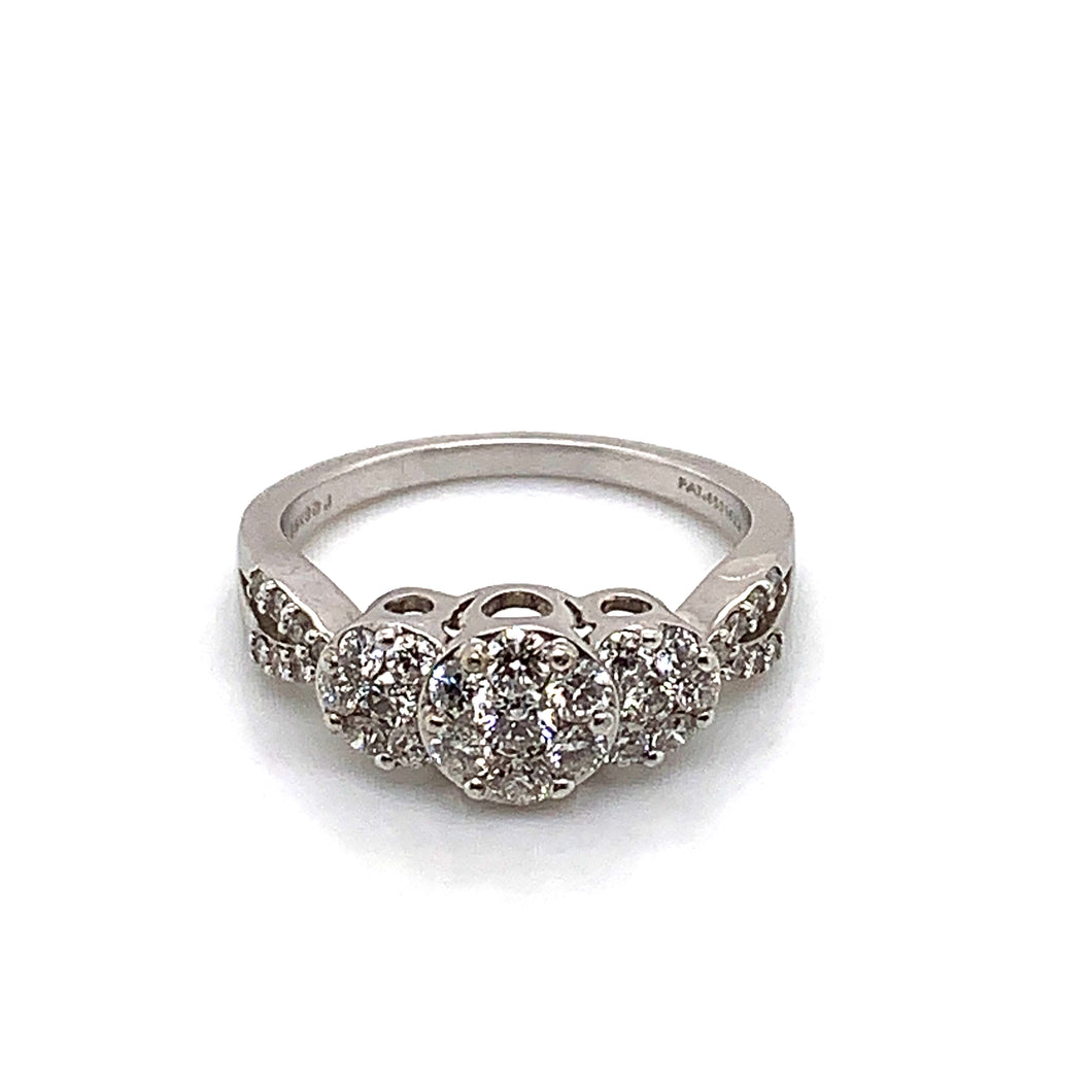 14K White Gold Cluster 3 Stone Style Diamond Ring