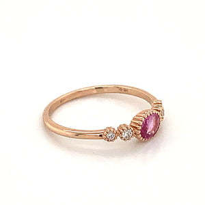 14K Rose Gold Pink Tourmaline & Diamond Bezel Set Ring
