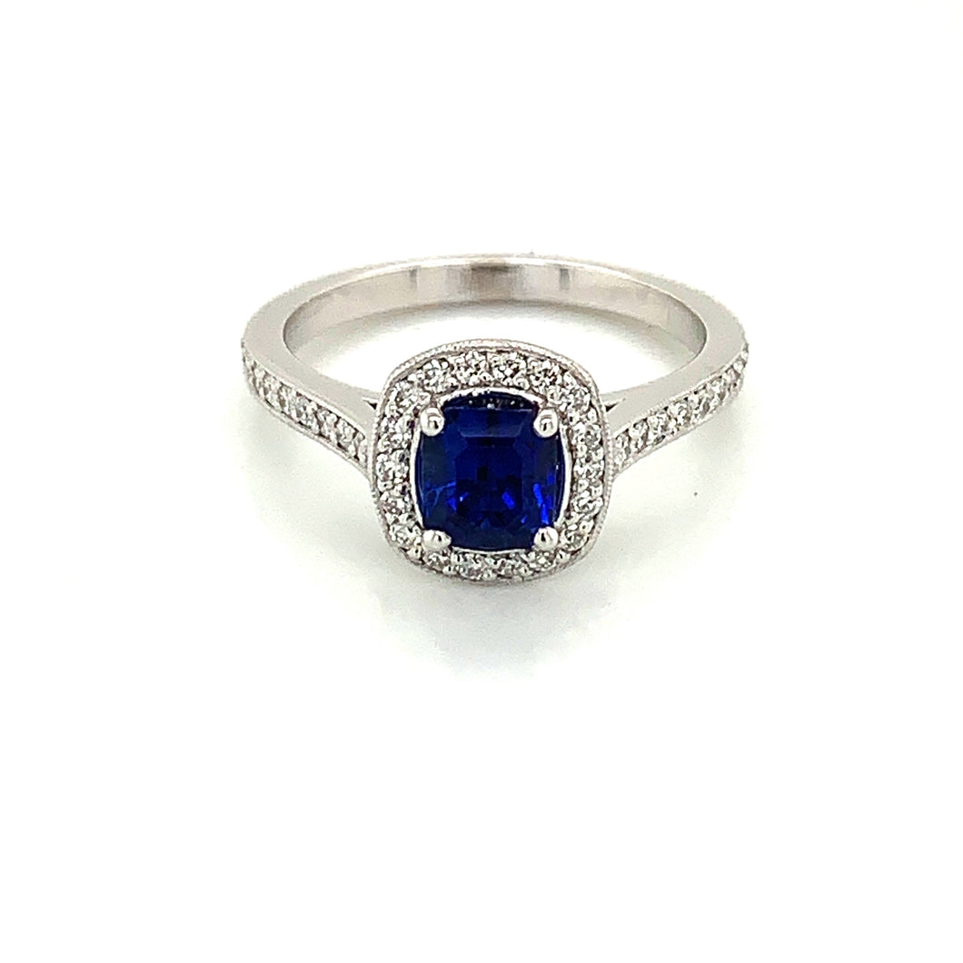14K White Gold Royal Blue Sapphire & Diamond Ring