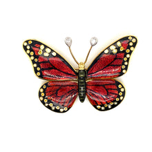 Load image into Gallery viewer, 18K Yellow Gold Red Enamel Butterfly Brooch/Pin with Pear Cut Diamond Antennas