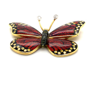 18K Yellow Gold Red Enamel Butterfly Brooch/Pin with Pear Cut Diamond Antennas