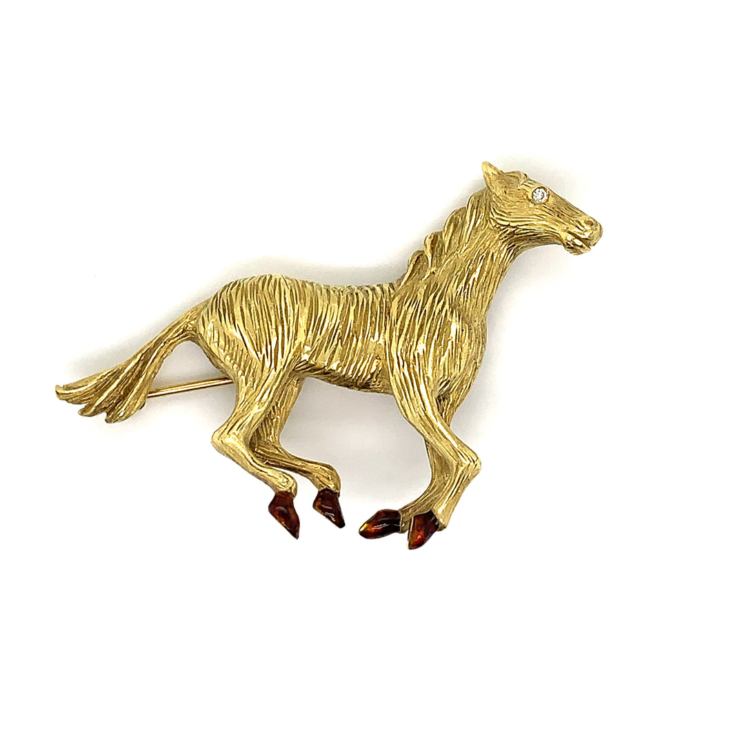 18K Yellow Gold Horse Brooch with Enamel Feet & Diamond Eye Accent