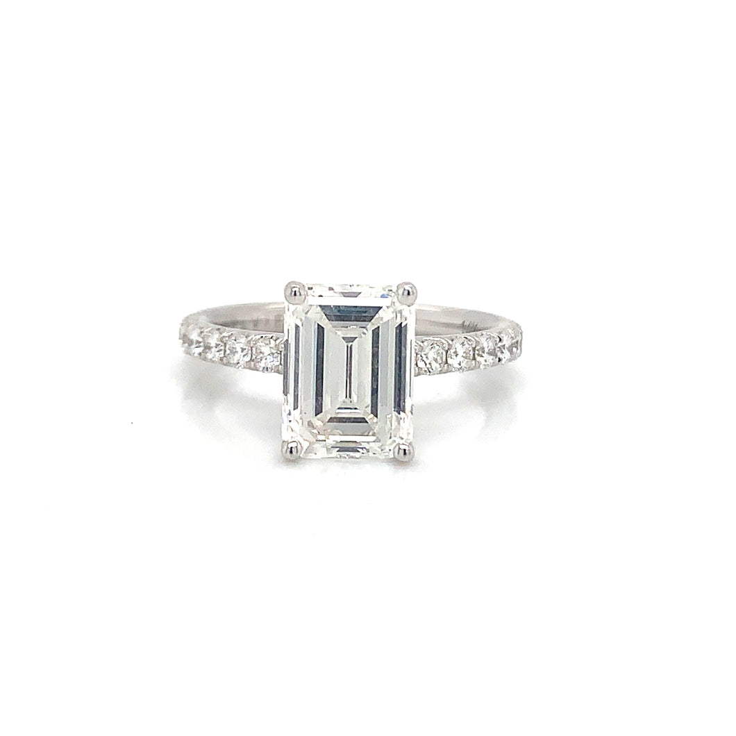 Sylvie 14K White Gold Emerald Cut Engagement Ring (2.49 Carat GIA Center Diamond)
