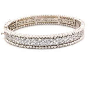 Sterling Silver Rhodium Plated Swarovski Crystal Beaded Bangle Bracelet