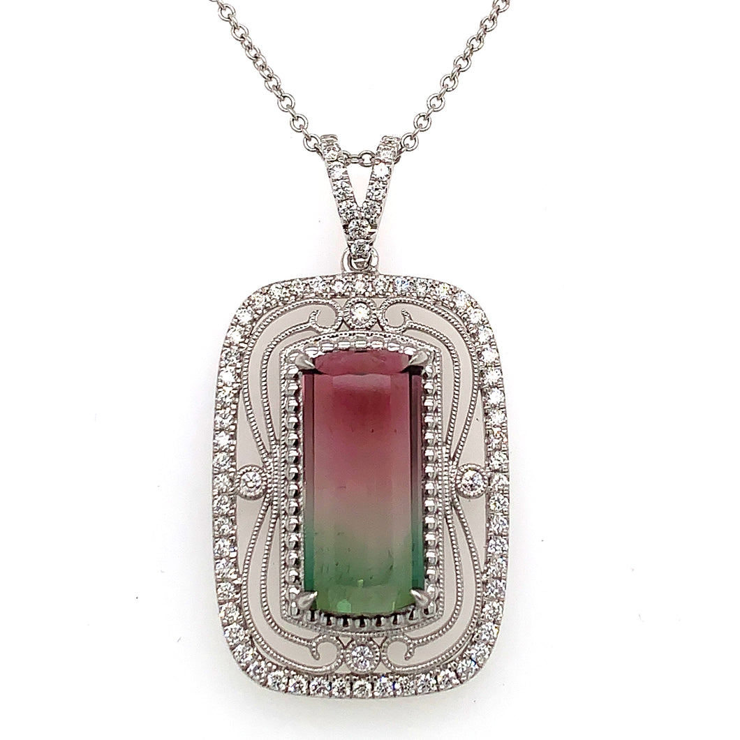 Simon G. 18K White Gold Watermelon Tourmaline & Diamond Necklace