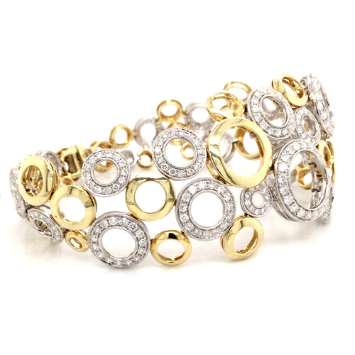 14K Yellow & White Gold Wide Diamond Circle Bracelet