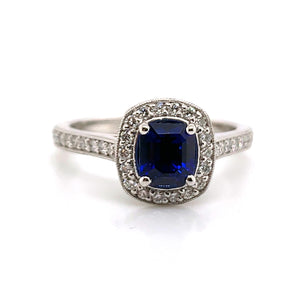 14K White Gold Custom Made Fine Royal Blue Sapphire & Diamond Ring