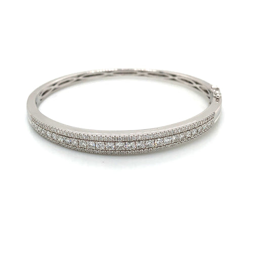 14K White Gold Three Row Diamond Bangle Bracelet