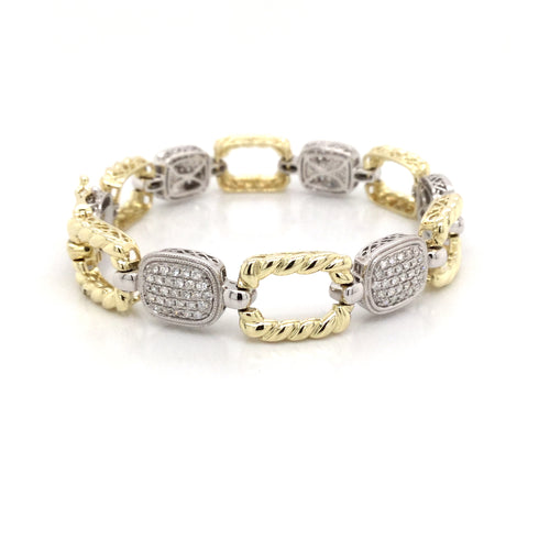 14K White And Yellow Gold Open Link Bracelet with Pave Diamonds