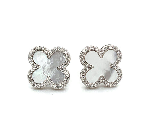 14K White Gold Mother of Pearl & Diamond Stud Earrings