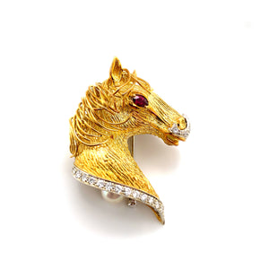 Vintage 18K Yellow Gold Horse Brooch with Ruby & Diamond Accents