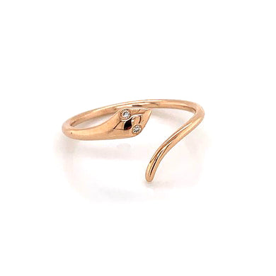 14K Rose Gold Snake Ring with Diamond Eyes