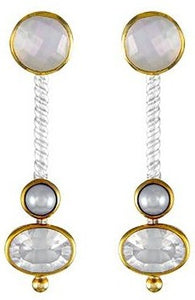 Sterling Silver & 22K Vermeil Earring with Mother Of Pearl, White Freshwater Pearl And Ice Quartz