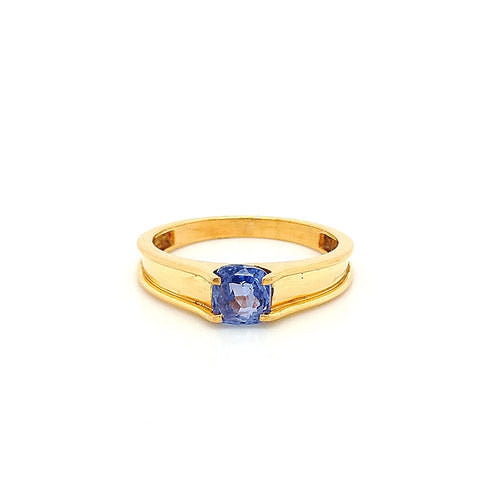 22K Yellow Gold No Heat Sapphire Ring