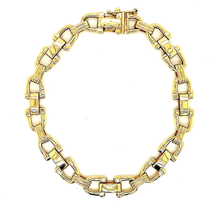 14K Yellow Gold Fancy Link Mens Bracelet